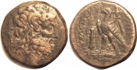 Ptolemy V, Æ34, Zeus Ammon hd r/Eagle stg l, club in field, AP monogram betw legs, Svor.1251; F-VF, rev sl off-ctr, brown patina, a bit porous mainly ...