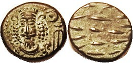 Orodes III, Æ Drachm, GIC-5910, Facg bust with bushy hair/dashes; Choice EF, well centered & struck, brown patina with nice strong green hilighting; s...