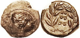 HIMERA, Æ16 (Hemilitron), 420-408 BC, Nymph hd l./6 pellets in wreath, S1110; EF, obv off-ctr to bottom, head complete, with quite sharp hair detail; ...