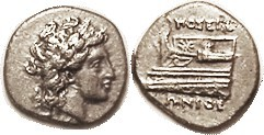 KIOS, Hemidrachm, 350-300 BC, Apollo head r/galley prow l, magistrate Poseidonios, as S3757 (£100); Nice VF, centered, ltly toned, strong detail both ...
