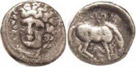 Drachm 350-325 BC, Nymph head 3/4 l./ horse rt, lgnd, S2120 (£175); F-VF, nrly centered on sl oval flan, decent metal with slightest touch of porosity...