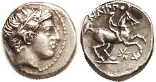 MACEDON, Philip II, 359-336 BC, 1/5 Tetradrachm, Apollo head r/Youth on horse r, star & AP monogram below, S6691; AEF/EF, obv sl off-ctr to left but h...