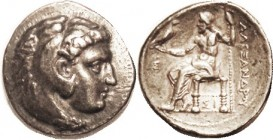 Alexander the Great, Tet, of Sidon, Herakles hd r/Zeus std l, Sigma at left, Sigma-I under seat, Pr.3504, VF, obv well center-ed, rev nrly so, a pleas...