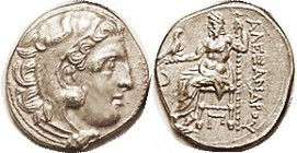 -- Drachm, of Kolophon, Herakles head r/Zeus std l, crescent left, Pi under seat, Pr.1813; Choice EF, obv well centered, rev sl off-ctr but complete, ...