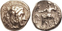 -- Hemidrachm, Arados, Pr. 3361; Herakles head r/Zeus std l, Anchor & A at left, monogram under seat (all clear). AVF, obv centered low, good metal wi...