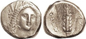 METAPONTUM, Stater, 330-300 BC, Demeter head Facing sl rt/ grain ear, as S417 (£300); VF, nrly centered, good metal, lt tone, sm metal flaw on grain e...