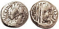 Silver Drachm, Aretas & Queen Huldu, 9 BC - 40 AD, GIC-5694, Bust r/bust r; F or better, nrly centered on a a small & very thick flan, most of lgnds o...