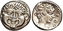 NEAPOLIS (Macedon), Hemidrachm, 424-350 BC, Facing Gorgoneion/nymph head r, lgnd at rt, S1417; VF-EF, nrly centered & well struck with strong detail, ...