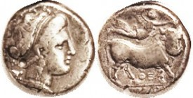 NEAPOLIS (Campania), Nomos, Nymph head r, astragalos behind/man-headed bull rt, Nike above, Theta-E below; F+, well centered with full complete bull, ...