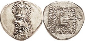 Sinatrukes (Used to be Gotarzes I), 33.4, bust in tiara with stags; Choice EF, perfectly centered (unusual for this), obv quite sharply struck, a mite...