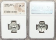 CALABRIA. Tarentum. Ca. 302-280 BC. AR stater or didrachm (21mm, 2h). NGC Choice VF. Philiarchus, Sa- and Aga-, magistrates. Youth seated on horse sta...