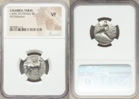 CALABRIA. Tarentum. Ca. 302-280 BC. AR stater or didrachm (22mm, 6h). NGC VF. Arethon, Sy- and Kas, magistrates. Nude youth on horseback right, crowni...