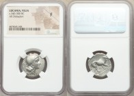 LUCANIA. Velia. Ca. 340-300 BC. AR didrachm or nomos (21mm, 11h). NGC Fine. 5th Period, Theta group, ca. 340-334 BC. Head of Athena right, wearing cre...