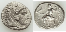 MACEDONIAN KINGDOM. Alexander III the Great (336-323 BC). AR tetradrachm (25mm, 16.61 gm, 5h). XF, porosity. Late lifetime issue of Sidon, dated Civic...