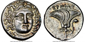 MACEDONIAN KINGDOM. Perseus (179-168 BC). AR drachm (14mm, 2.77 gm, 12h). NGC MS 5/5 - 5/5. Pseudo-Rhodian, Greek mercenaries issue, ca. 175-170 BC, E...