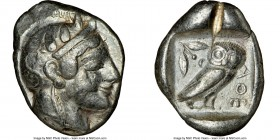 ATTICA. Athens. Ca. 465-455 BC. AR tetradrachm (27mm, 17.12 gm, 1h). NGC VF 5/5 - 2/5, test cut. Head of Athena right, wearing crested Attic helmet or...