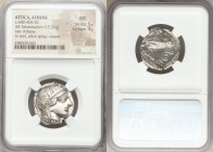 ATTICA. Athens. Ca. 440-404 BC. AR tetradrachm (25mm, 17.20 gm, 7h). NGC MS 5/5 - 3/5. Mid-mass coinage issue. Head of Athena right, wearing crested A...