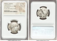 ATTICA. Athens. Ca. 440-404 BC. AR tetradrachm (24mm, 17.20 gm, 4h). NGC Choice AU 5/5 - 4/5. Mid-mass coinage issue. Head of Athena right, wearing cr...