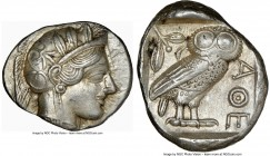 ATTICA. Athens. Ca. 440-404 BC. AR tetradrachm (24mm, 17.19 gm, 4h). NGC AU 5/5 - 4/5. Mid-mass coinage issue. Head of Athena right, wearing crested A...