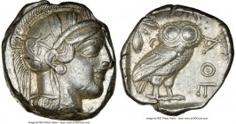 ATTICA. Athens. Ca. 440-404 BC. AR tetradrachm (24mm, 17.20 gm, 6h). NGC AU 5/5 - 4/5. Mid-mass coinage issue. Head of Athena right, wearing crested A...
