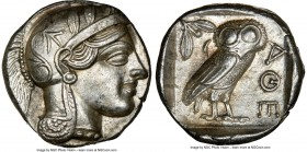 ATTICA. Athens. Ca. 440-404 BC. AR tetradrachm (24mm, 17.20 gm, 5h). NGC AU 5/5 - 4/5. Mid-mass coinage issue. Head of Athena right, wearing crested A...