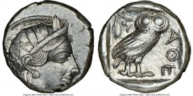 ATTICA. Athens. Ca. 440-404 BC. AR tetradrachm (24mm, 17.17 gm, 1h). NGC AU 3/5 - 4/5. Mid-mass coinage issue. Head of Athena right, wearing crested A...