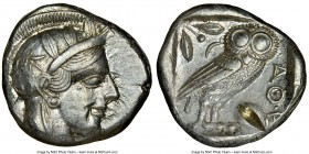ATTICA. Athens. Ca. 440-404 BC. AR tetradrachm (24mm, 17.24 gm, 10h). NGC AU 4/5 - 2/5, test cut. Mid-mass coinage issue. Head of Athena right, wearin...