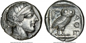 ATTICA. Athens. Ca. 440-404 BC. AR tetradrachm (24mm, 17.15 gm, 10h). NGC Choice XF 5/5 - 4/5. Mid-mass coinage issue. Head of Athena right, wearing c...