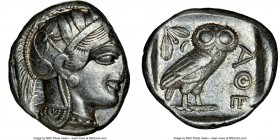 ATTICA. Athens. Ca. 440-404 BC. AR tetradrachm (25mm, 17.19 gm, 10h). NGC Choice XF 4/5 - 4/5. Mid-mass coinage issue. Head of Athena right, wearing c...