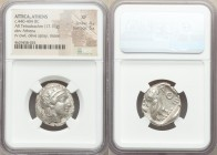 ATTICA. Athens. Ca. 440-404 BC. AR tetradrachm (24mm, 17.16 gm, 10h). NGC XF 4/5 - 5/5. Mid-mass coinage issue. Head of Athena right, wearing crested ...