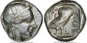 ATTICA. Athens. Ca. 440-404 BC. AR tetradrachm (23mm, 17.20 gm, 12h). NGC XF 3/5 - 4/5. Mid-mass coinage issue. Head of Athena right, wearing crested ...