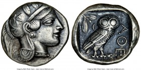 ATTICA. Athens. Ca. 440-404 BC. AR tetradrachm (25mm, 17.16 gm, 1h). NGC Choice VF 5/5 - 4/5. Mid-mass coinage issue. Head of Athena right, wearing cr...