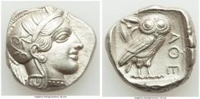 ATTICA. Athens. Ca. 440-404 BC. AR tetradrachm (25mm, 17.18 gm, 11h). AU, mark. Mid-mass coinage issue. Head of Athena right, wearing crested Attic he...