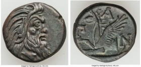 CIMMERIAN BOSPORUS. Panticapaeum. Ca. 4th century BC. AE (20mm, 6.99 gm, 12h). XF. Head of bearded Pan right / Π-A-N, forepart of griffin left, sturge...
