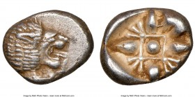IONIA. Miletus. Ca. late 6th-5th centuries BC. AR 1/12 stater or obol (11mm). NGC Choice XF. Milesian standard. Forepart of roaring lion left, head re...
