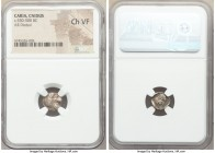CARIA. Cnidus. Ca. 530-500 BC. AR diobol (11mm, 2h). NGC Choice VF. Head of roaring lion right / Archaic head of Aphrodite right, hair bound with fill...