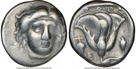 CARIAN ISLANDS. Rhodes. Ca. 340-305 BC. AR didrachm (19mm, 12h). NGC Choice Fine, scratches. Head of Helios facing, turned slightly right, hair parted...