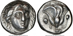 CARIAN ISLANDS. Rhodes. Ca. 305-275 BC. AR didrachm (18mm, 12h). NGC Choice VF. Head of Helios facing, turned slightly right, hair parted in center an...
