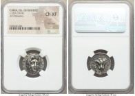 CARIAN ISLANDS. Rhodes. Ca. 250-230 BC. AR didrachm (20mm, 12h). NGC Choice XF, flan flaw. Mnasimaxus, magistrate. Radiate head of Helios facing, turn...