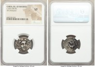 CARIAN ISLANDS. Rhodes. Ca. 250-200 BC. AR didrachm (20mm, 12h). NGC VF. Ca. 205-195 BC, Ainetor, magistrate. Radiate head of Helios facing, turned sl...