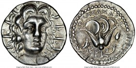 CARIAN ISLANDS. Rhodes. Ca. 205-190 BC. AR didrachm (21mm, 12h). NGC AU. Onasandros, magistrate. Radiate head of Helios facing, turned slightly right,...