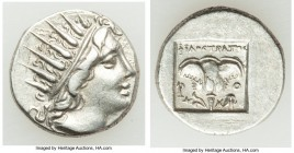CARIAN ISLANDS. Rhodes. Ca. 88-84 BC. AR drachm (15mm, 2.87 gm, 11h). XF. Plinthophoric standard, Philostratus, magistrate. Radiate head of Helios rig...