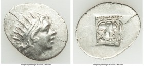 CARIAN ISLANDS. Rhodes. Ca. 88-84 BC. AR drachm (19mm, 2.50 gm, 12h). XF, die shift. Plinthophoric standard, Nicephorus, magistrate. Radiate head of H...