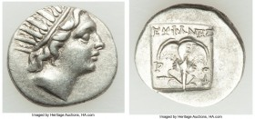 CARIAN ISLANDS. Rhodes. Ca. 88-84 BC. AR drachm (15mm, 2.59 gm, 12h). XF. Plinthophoric standard, Euphanes, magistrate. Radiate head of Helios right /...