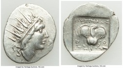 CARIAN ISLANDS. Rhodes. Ca. 88-84 BC. AR drachm (18mm, 2.33 gm, 10h). XF, die shift. Plinthophoric standard, Lysimachus, magistrate. Radiate head of H...