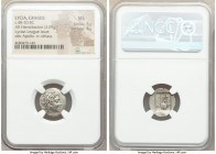 LYCIAN LEAGUE. Cragus. Ca. 48-20 BC. AR hemidrachm (16mm, 2.09 gm, 12h). NGC MS 5/5 - 4/5. Series 1. Laureate head of Apollo right; Λ-Y below / K-P, c...