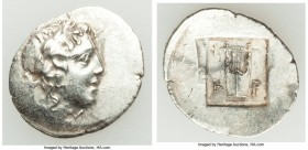 LYCIAN LEAGUE. Cragus. Ca. 48-20 BC. AR hemidrachm (18mm, 1.81 gm, 12h). XF. Series 1. Laureate head of Apollo right; Λ-Y below / K-P, cithara (lyre);...