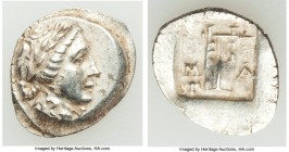 LYCIAN LEAGUE. Masicytes. Ca. 48-20 BC. AR hemidrachm (16mm, 1.81 gm, 12h). AU. Series 1. Laureate head of Apollo right; Λ-Y below / M-A, cithara (lyr...