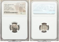LYCIAN LEAGUE. Masicytes. Ca. 48-20 BC. AR hemidrachm (17mm, 1h). NGC Choice AU S 5/5 - 4/5. Series 2. Laureate head of Apollo right, bow and quiver o...