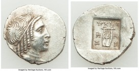 LYCIAN LEAGUE. Masicytes. Ca. 48-20 BC. AR hemidrachm (17mm, 1.88 gm, 12h). AU. Series 4. Head of Apollo right, wearing taenia / ΛΥΚΙΩΝ, cithara (lyre...